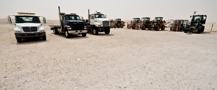 Vehicles assigned to the 379th Expeditionary Logistics Readiness Squadron sit at the ready to support whatever the mission calls for in Southwest Asia, May 14, 2013. (U.S. Air Force photo/Senior Airman Benjamin Stratton)