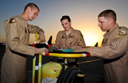"""The aircrew, currently assigned to the oldest jet in the Air Force, """"57-1419,"""" review their pre-flight checklists May 18, 2013, at the 379th Air Expeditionary Wing in Southwest Asia. Aircraft 57-1419 is a KC-135 Stratotanker deployed from the 190th Air Refueling Wing of the Kansas Air National Guard. (U.S. Air Force photo/Senior Airman Benjamin Stratton)"""