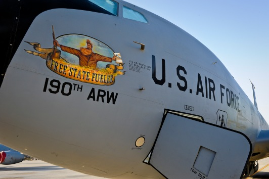 """Aircraft 57-1419"""" stands at the ready during pre-flight checks May 18, 2013, at the 379th Air Expeditionary Wing in Southwest Asia. Aircraft 57-1419 is a KC-135 Stratotanker deployed from the 190th Air Refueling Wing of the Kansas Air National Guard. (U.S. Air Force photo/Senior Airman Benjamin Stratton)"""