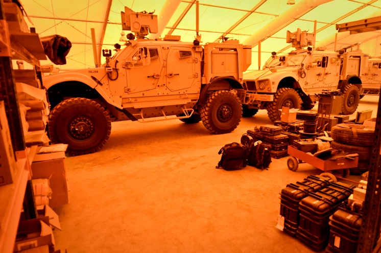 Supplies and equipment sit at the ready to support units deployed to Afghanistan in the 379th Expeditionary Civil Engineer Squadron explosive ordnance disposal's modular storage depot, May 29, 2013, at the 379th Air Expeditionary Wing in Southwest Asia. (U.S. Air Force photo/Senior Airman Benjamin Stratton)