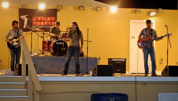 Rachel Lipsky and her band perform for servicemembers assigned to the 379th Air Expeditionary Wing in Southwest Asia, May 29, 2013. The performance was part of an Armed Forces Entertainment tour around the region. AFE hosts more than 1,200 shows around the world each year, reaching more than 500,000 personnel at 270 military installations. (U.S. Air Force photo/Senior Airman Benjamin Stratton)