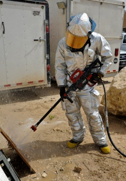 Airman 1st Class Taner Masters practices using a PyroLance during training, June 4, 2013, at the 379th Air Expeditionary Wing in Southwest Asia. This tool gives crews access to engine bays, cabins, cargo holds or anywhere else fire breaks out. Masters is a 379th Expeditionary Civil Engineer Squadron firefighter. (U.S. Air Force photo/Senior Airman Benjamin Stratton)