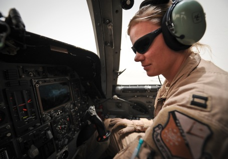 Capt. Nikki Jansen performs pre-flight checks of a B-1B Lancer June 11, 2013, at the 379th Air Expeditionary Wing in Southwest Asia. Packard is a 34th Expeditionary Bomb Squadron pilot deployed from Ellsworth Air Force Base, S.D. (U.S. Air Force photo/Senior Airman Benjamin Stratton)