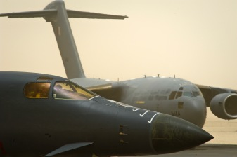 A B-1B Lancer assigned to the 34th Expeditionary Bomb Squadron prepares for takeoff, June 11, 2013, at the 379th Air Expeditionary Wing in Southwest Asia. (U.S. Air Force photo/Senior Airman Benjamin Stratton)