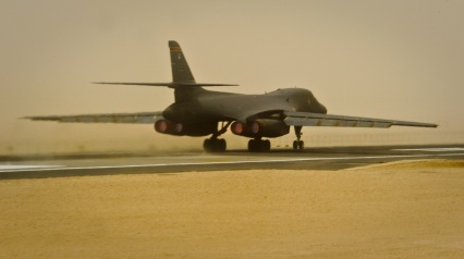 A B-1B Lancer assigned to the 34th Expeditionary Bomb Squadron takes off, June 11, 2013, at the 379th Air Expeditionary Wing in Southwest Asia. (U.S. Air Force photo/Senior Airman Benjamin Stratton)