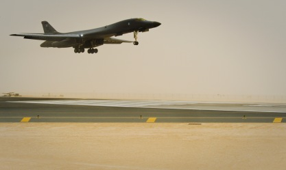 A B-1B Lancer assigned to the 34th Expeditionary Bomb Squadron returns from a mission, June 11, 2013, at the 379th Air Expeditionary Wing in Southwest Asia. (U.S. Air Force photo/Senior Airman Benjamin Stratton)