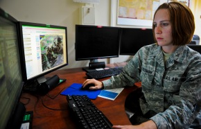 Senior Airman Alicia Freedman analyzes weather data as she prepares a forecast briefing for base leadership at the 379th Air Expeditionary Wing in Southwest Asia, June 19, 2013. Freedman is a 379th Expeditionary Operations Support Squadron weather forecaster deployed from Barksdale Air Force Base, La. (U.S. Air Force photo/Senior Airman Benjamin Stratton)