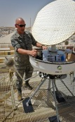 Senior Master Sgt. Scott Butler performs preventative maintenance on the 379th Expeditionary Operations Support Squadron's portable Doppler radar at the 379th Air Expeditionary Wing in Southwest Asia. Butler is the 379th EOSS weather flight chief deployed from Offutt Air Force Base, Neb. (U.S. Air Force photo/Senior Airman Benjamin Stratton)