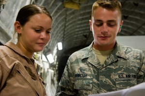 Staff Sgt. John Hubicsak discusses load plans with Airman 1st Class Brittany McGarrity on a C-17 Globemaster III at the 379th Air Expeditionary Wing in Southwest Asia, July 12, 2013. Hubicsak is an 8th Expeditionary Air Mobility Squadron air terminal operations center information controller deployed from Ramstein Air Base, Germany, and McGarrity is an 816th Expeditionary Airlift Squadron C-17 loadmaster deployed from Joint Base Charleston, S.C. (U.S. Air Force photo/Senior Airman Benjamin Stratton)