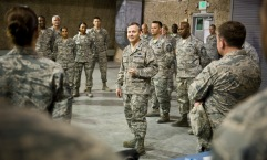 Lt. Gen. John W. Hesterman III talks with Airmen from the 379th Expeditionary Maintenance Squadron during his visit with units from across the wing at the 379th Air Expeditionary Wing in Southwest Asia, July 23, 2013. Hesterman is the Combined Force Air Component Commander responsible for developing contingency plans and conducting air operations in a 20-nation area of responsibility covering Central and Southwest Asia. (U.S. Air Force photo/Senior Airman Benjamin Stratton)