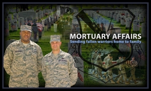 The 379th Expeditionary Force Support Squadron's mortuary affairs section provides an invaluable service to the nation's fallen warriors being returned home to their family and friends offering them piece of mind at the 379th Air Expeditionary Wing in Southwest Asia. (U.S. Air Force graphic/Senior Airman Benjamin Stratton)