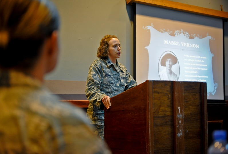 Lt. Col. Sirena Morris addresses women and men alike attending the Women's Equality Day celebration at the 379th Air Expeditionary Wing in Southwest Asia, Aug. 26, 2013. The colonel's words and many others quoted during the event served as mentoring points and notes of motivation. Morris is the 379th Expeditionary Force Support Squadron commander and a Fayetteville, N.C., native. (U.S. Air Force photo/Senior Airman Benjamin Stratton)