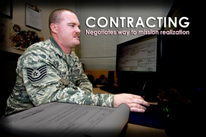 Air Force Contracting must balance fulfilling the service's mission with upholding statutory law, the Federal Acquisition Regulation, and other Air Force policy and guidance. (U.S. Air Force photo illustration/Staff Sgt. Benjamin W. Stratton)